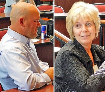 Van Wert City Board of Education members welcomed incoming Superintendent Mark Bagley (left) said farewell to retiring Superintendent Vicki Brunn during its June meeting on Wednesday.