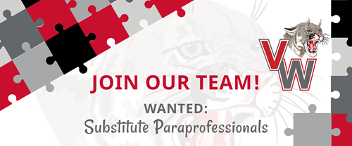 Join Our Team! Wanted: Substitute Paraprofessionals with graphic of puzzle pieces and the VW Cougar Head logo