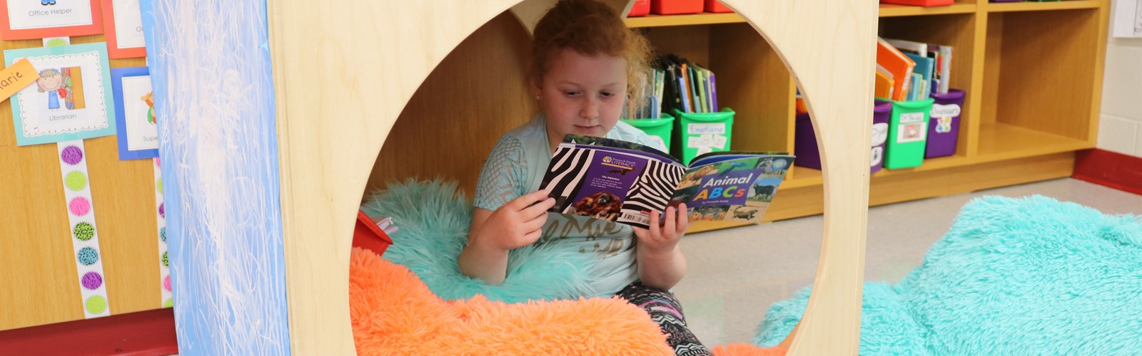 Student reading in a comfy reading nook